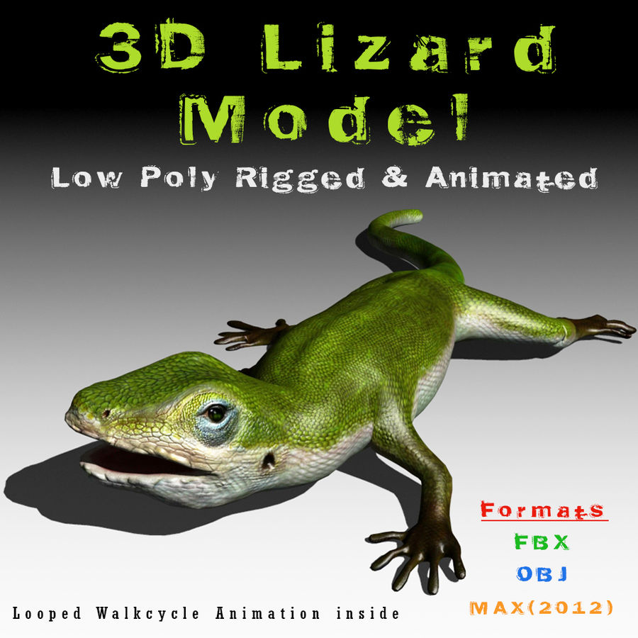 Lizard 3D Lowpoly Model Rigged & Animated royalty-free 3d model - Preview no. 1