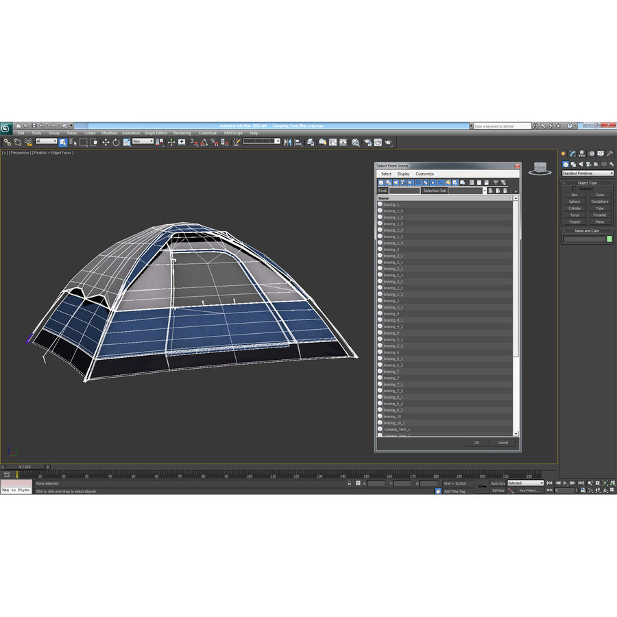 Camping Tent Blue royalty-free 3d model - Preview no. 25