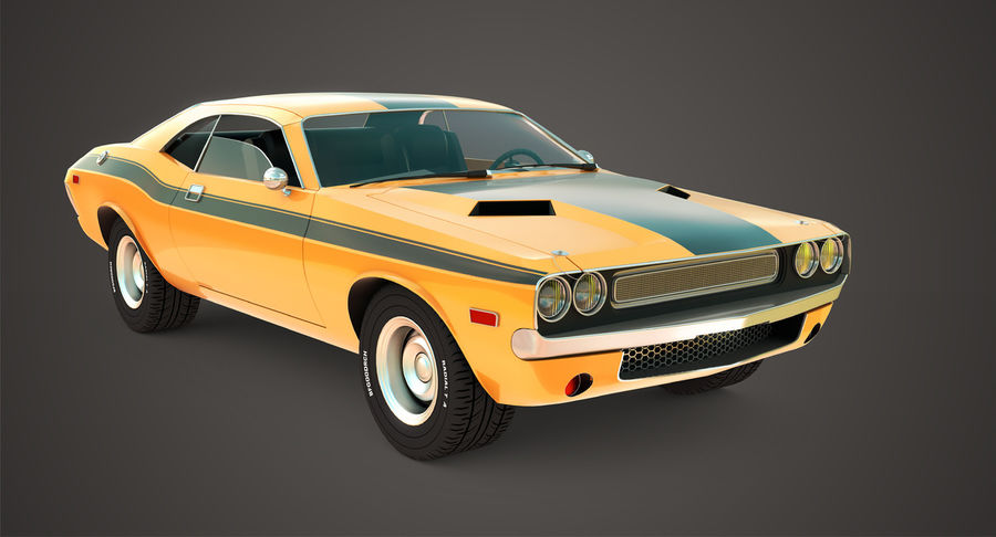 Dodge Challenger royalty-free 3d model - Preview no. 2