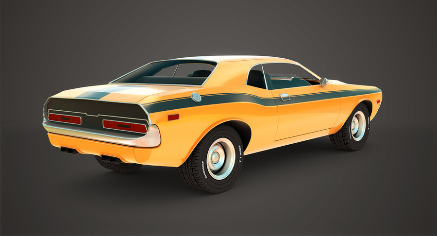 Dodge Challenger royalty-free 3d model - Preview no. 3