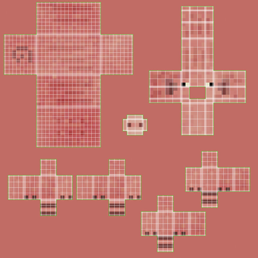 Minecraft Pig 3D Model royalty-free 3d model - Preview no. 11