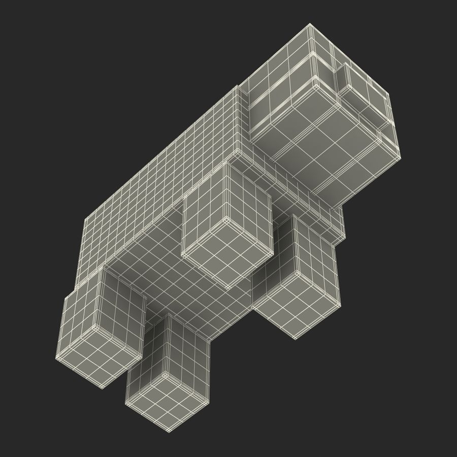 Minecraft Pig 3D-model royalty-free 3d model - Preview no. 16