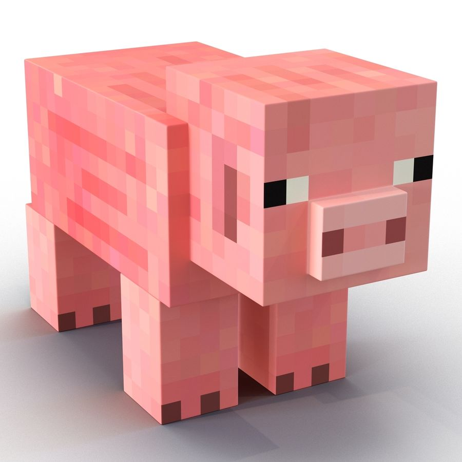 Minecraft Pig 3D-model royalty-free 3d model - Preview no. 3