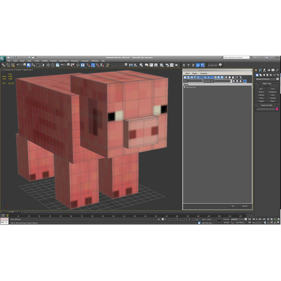 Minecraft Pig 3D Model royalty-free 3d model - Preview no. 13