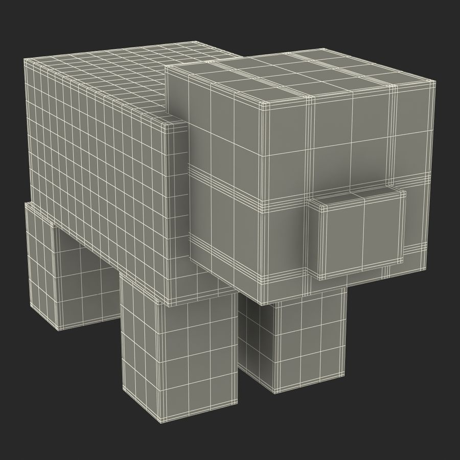 Minecraft Pig 3D-model royalty-free 3d model - Preview no. 14