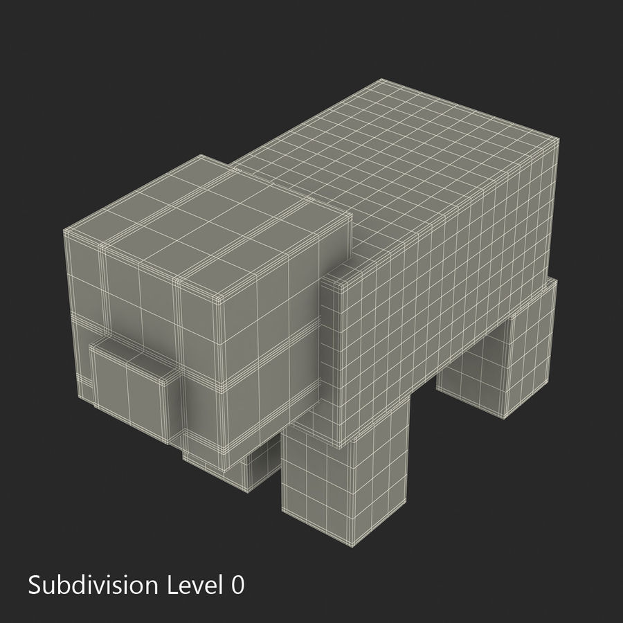 Minecraft 돼지 3D 모델 royalty-free 3d model - Preview no. 10