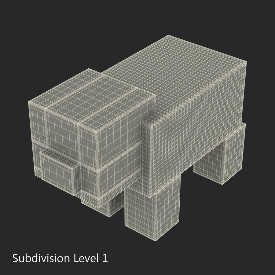 Minecraft Pig 3D Model royalty-free 3d model - Preview no. 10