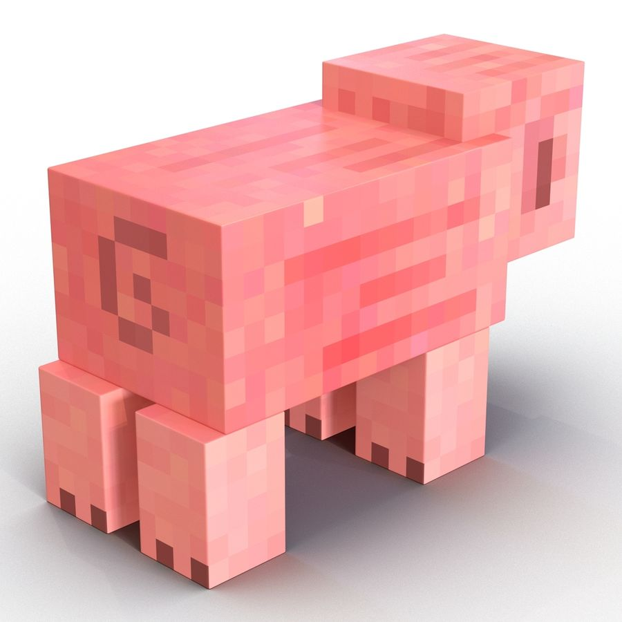 Minecraft Pig 3D Model royalty-free 3d model - Preview no. 6