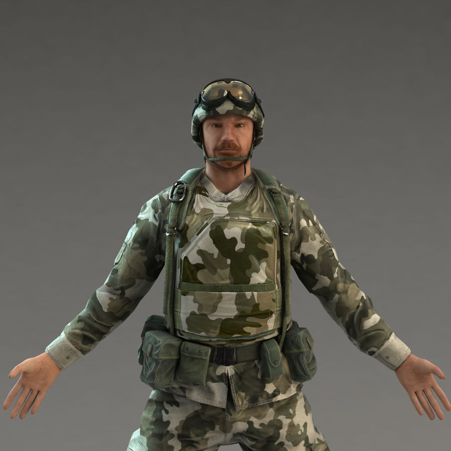 Soldier with Rifle royalty-free 3d model - Preview no. 9