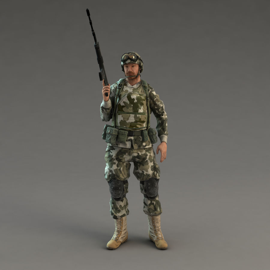 Soldier with Rifle royalty-free 3d model - Preview no. 15