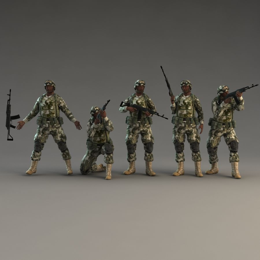 Soldier with Rifle royalty-free 3d model - Preview no. 3