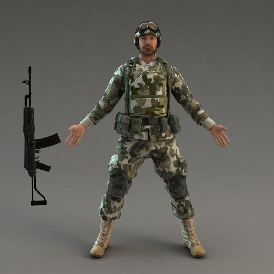 Soldier with Rifle royalty-free 3d model - Preview no. 4