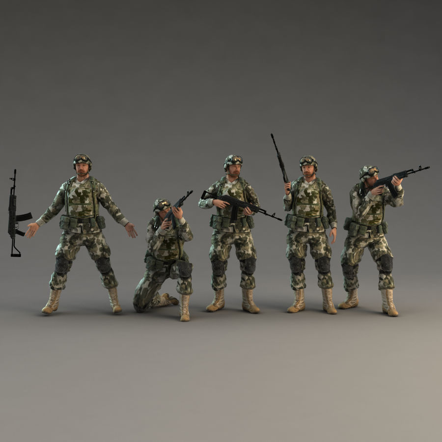 Soldier with Rifle royalty-free 3d model - Preview no. 2