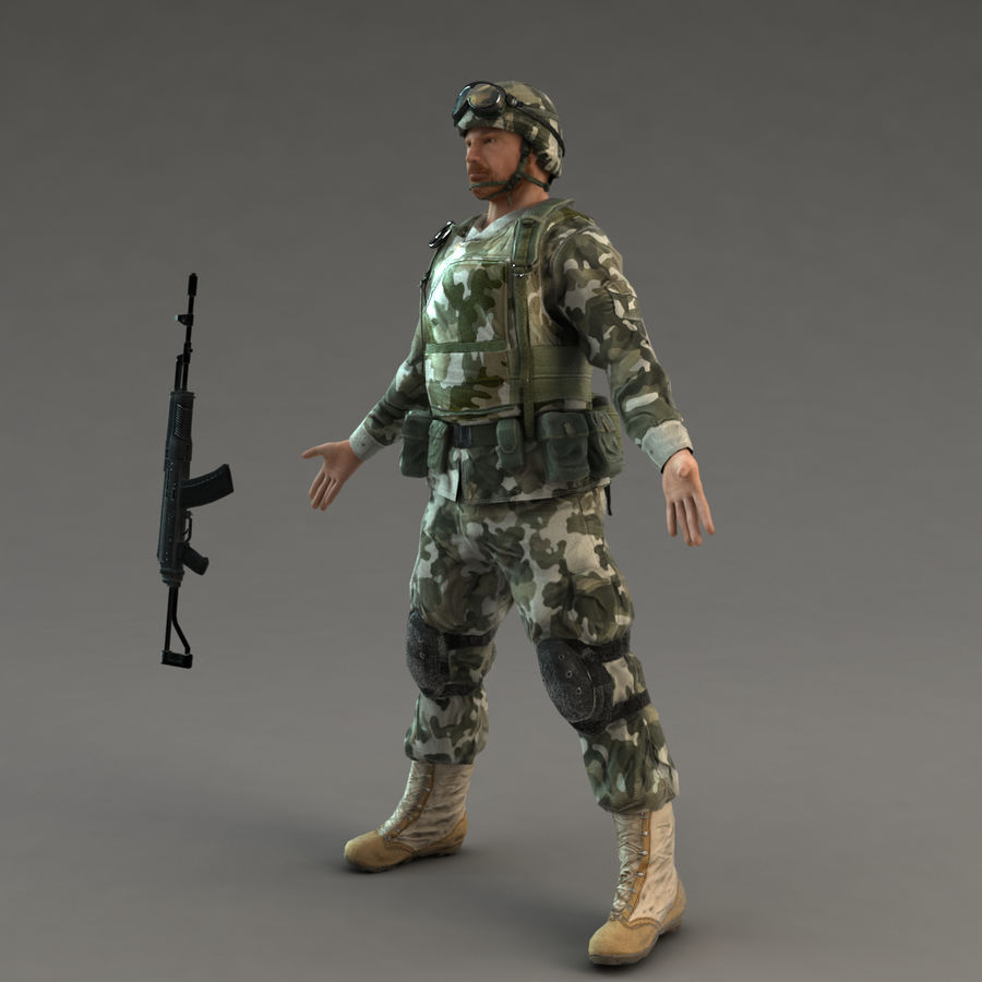 Soldier with Rifle royalty-free 3d model - Preview no. 8