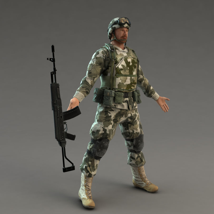 Soldier with Rifle royalty-free 3d model - Preview no. 6