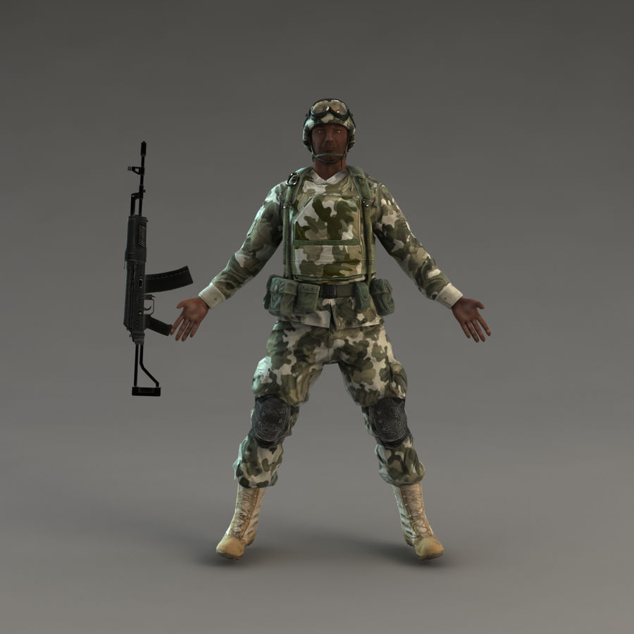 Soldier with Rifle royalty-free 3d model - Preview no. 5