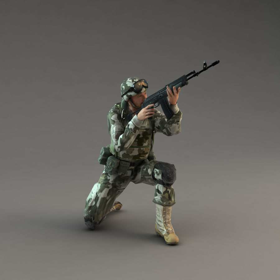 Soldier with Rifle royalty-free 3d model - Preview no. 16