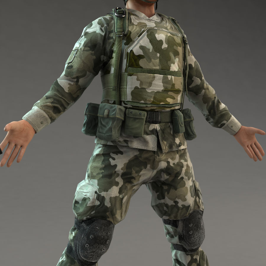 Soldier with Rifle royalty-free 3d model - Preview no. 10