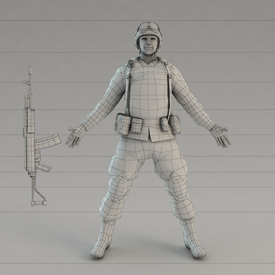 Soldier with Rifle royalty-free 3d model - Preview no. 12
