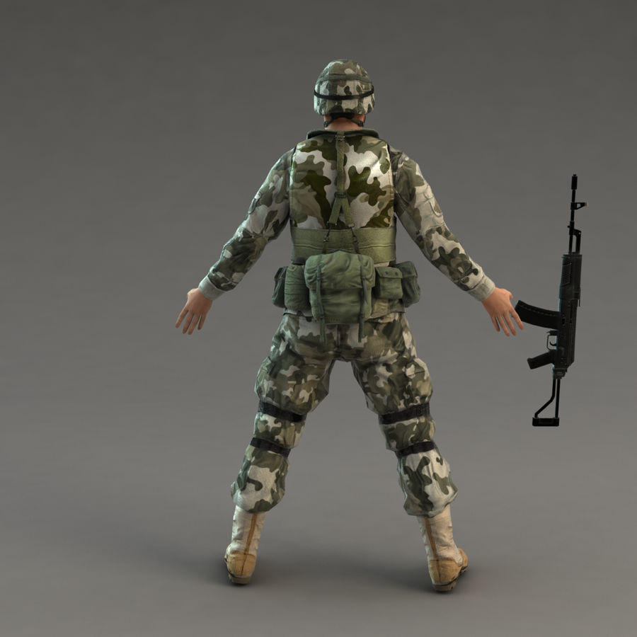 Soldier with Rifle royalty-free 3d model - Preview no. 7