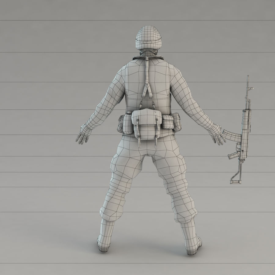 Soldier with Rifle royalty-free 3d model - Preview no. 13