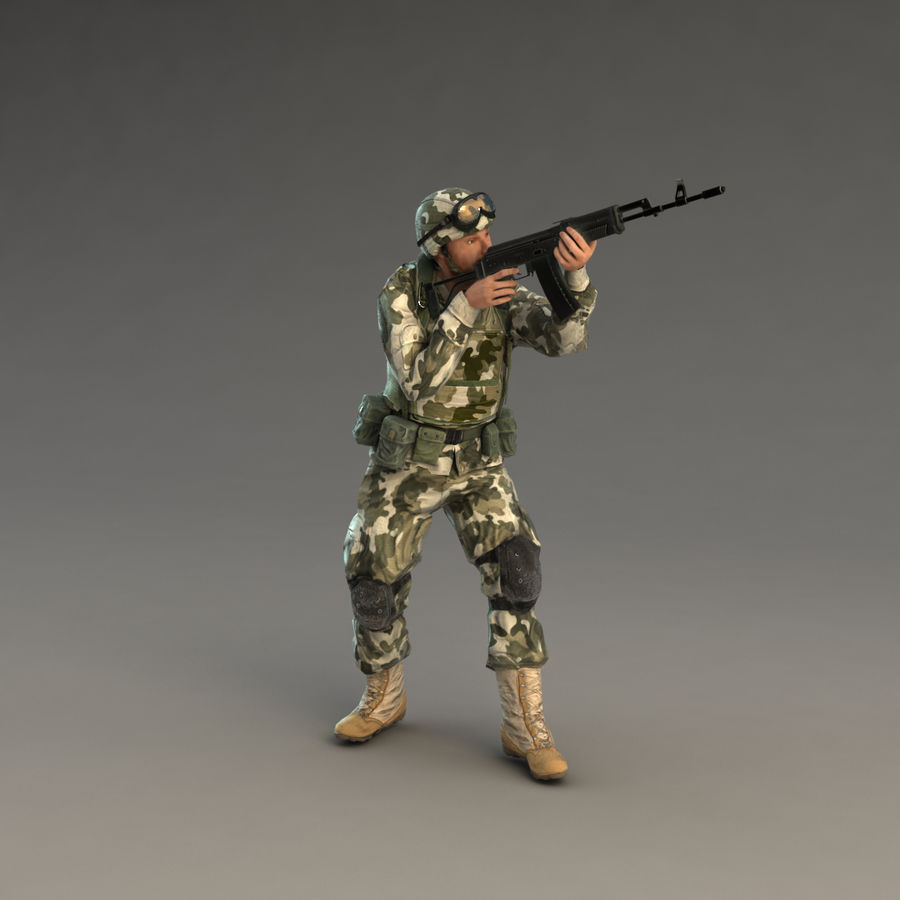 Soldier with Rifle royalty-free 3d model - Preview no. 17