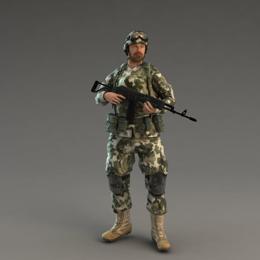 Soldier with Rifle royalty-free 3d model - Preview no. 14