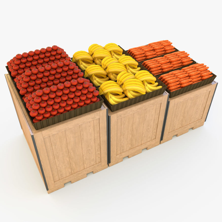 Box for egetables royalty-free 3d model - Preview no. 5