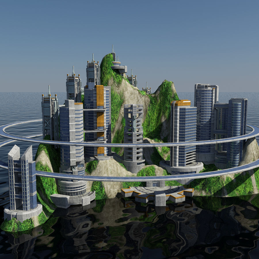 Ecopolis Island City 1 - Sci-fi Seascape Cityscape royalty-free 3d model - Preview no. 6