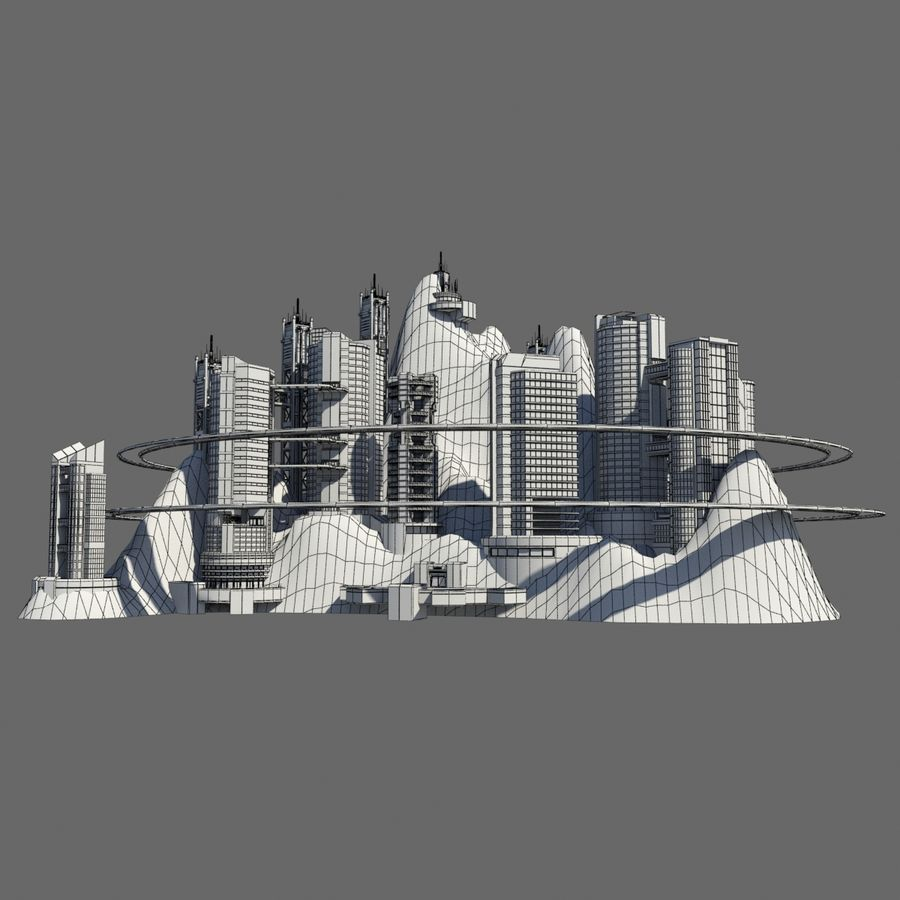 Ecopolis Island City 1 - Sci-fi Seascape Cityscape royalty-free 3d model - Preview no. 7