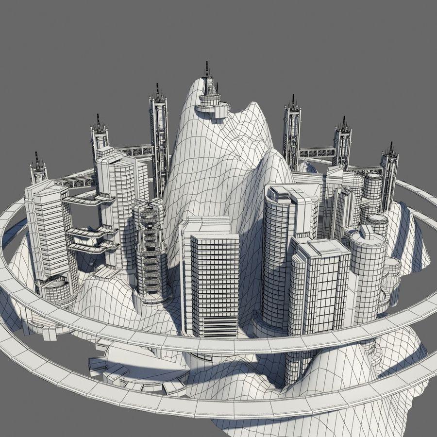 Ecopolis Island City 1 - Sci-fi Seascape Cityscape royalty-free 3d model - Preview no. 9