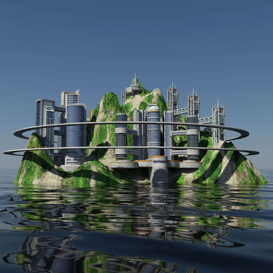 Ecopolis Island City 1 - Sci-fi Seascape Cityscape royalty-free 3d model - Preview no. 4