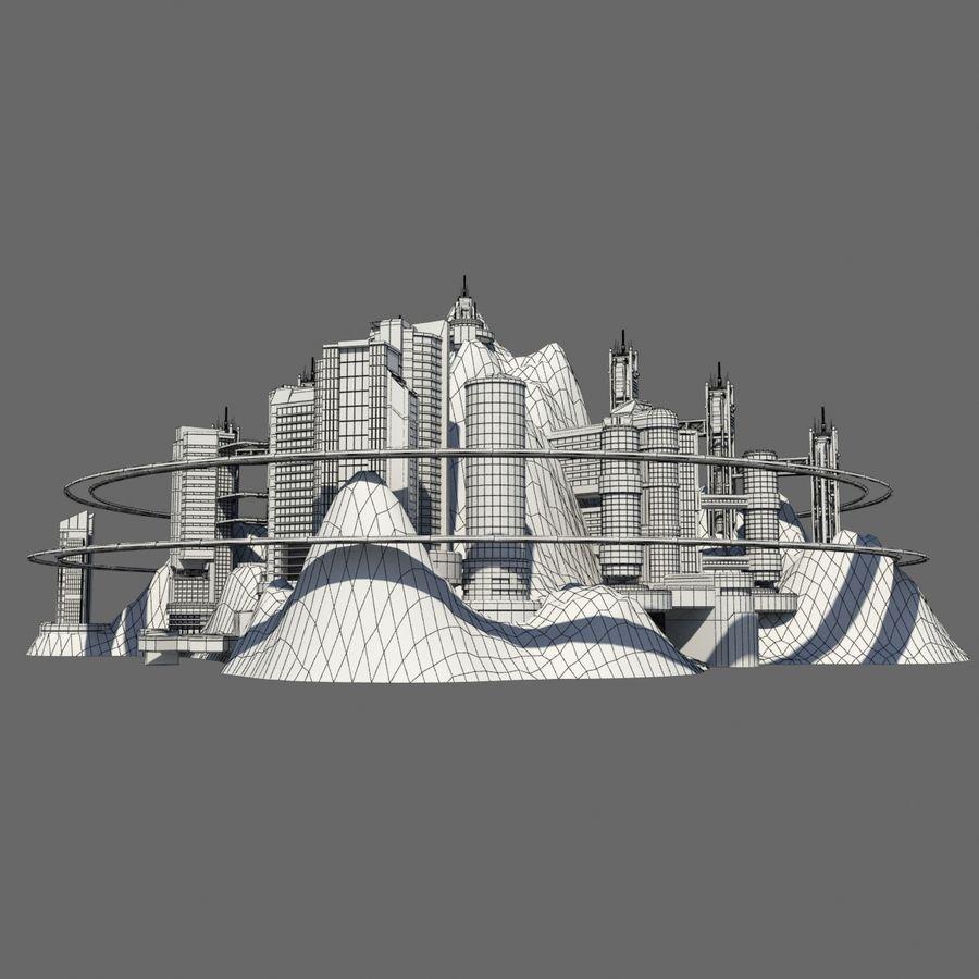 Ecopolis Island City 1 - Sci-fi Seascape Cityscape royalty-free 3d model - Preview no. 8
