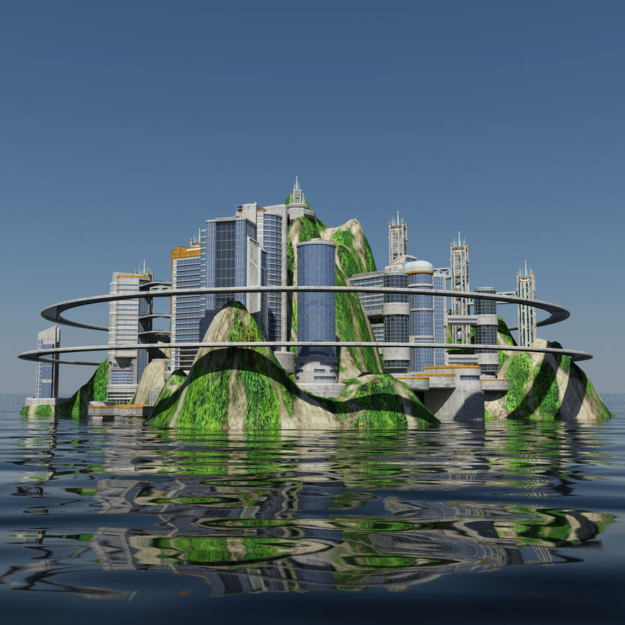 Ecopolis Island City 1 - Sci-fi Seascape Cityscape royalty-free 3d model - Preview no. 3