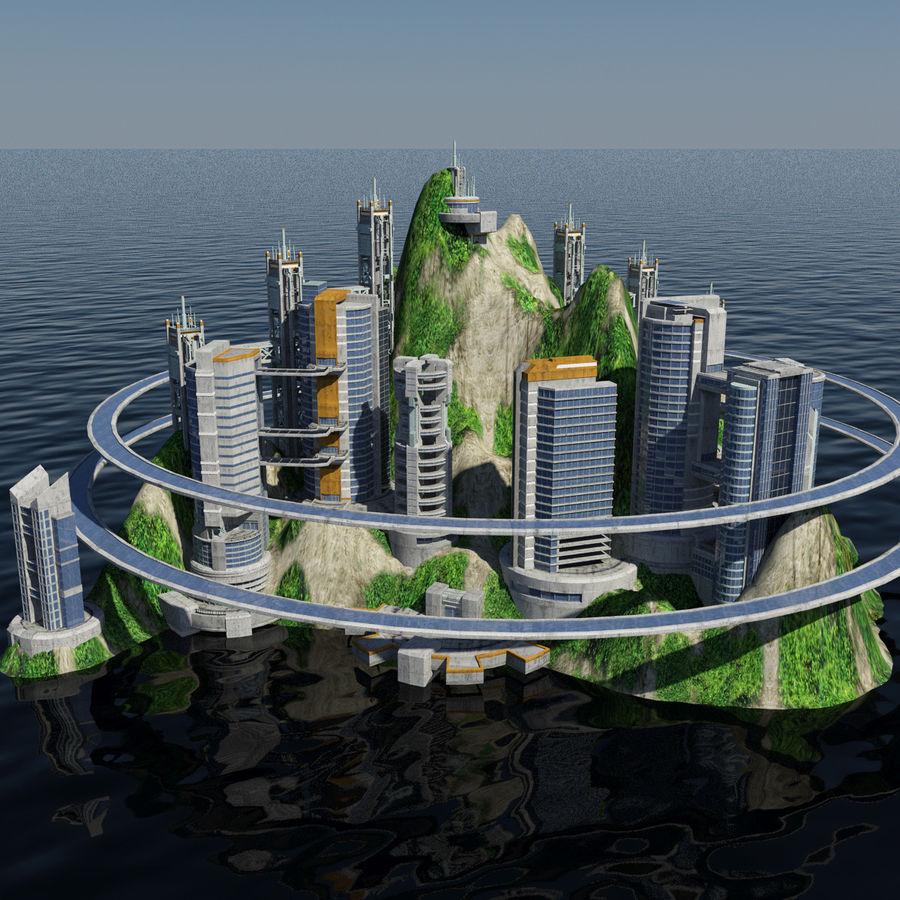Ecopolis Island City 1 - Sci-fi Seascape Cityscape 3D Model