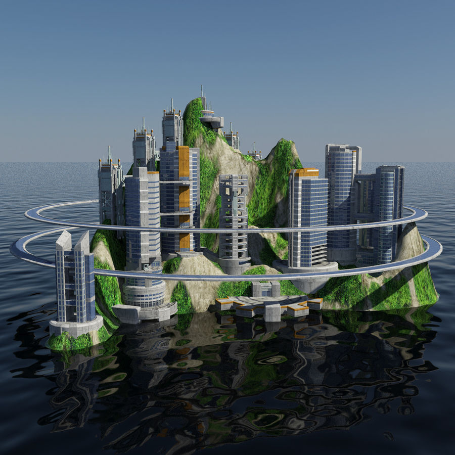 Ecopolis Island City 1 - Sci-fi Seascape Cityscape royalty-free 3d model - Preview no. 2
