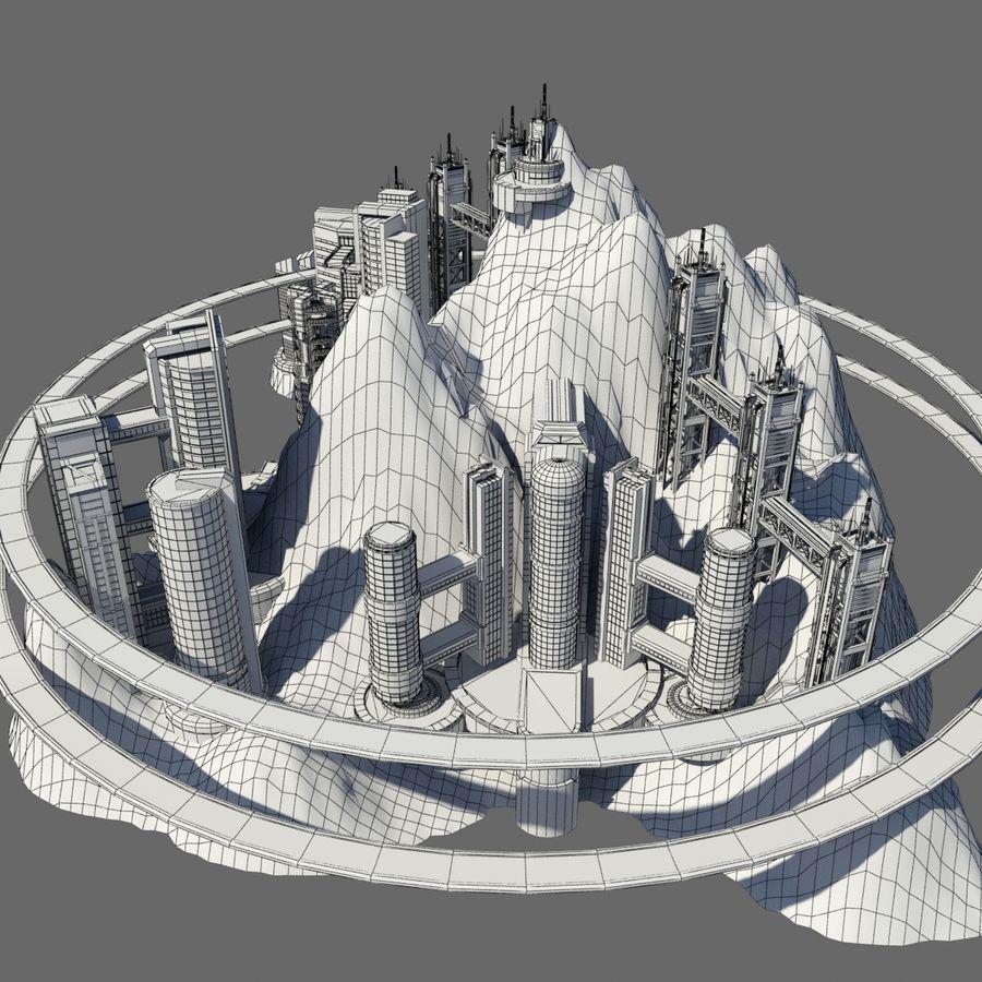 Ecopolis Island City 1 - Sci-fi Seascape Cityscape royalty-free 3d model - Preview no. 10
