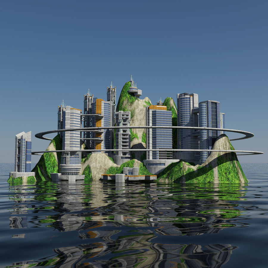Ecopolis Island City 1 - Sci-fi Seascape Cityscape royalty-free 3d model - Preview no. 1
