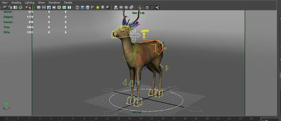 deer rigged royalty-free 3d model - Preview no. 18