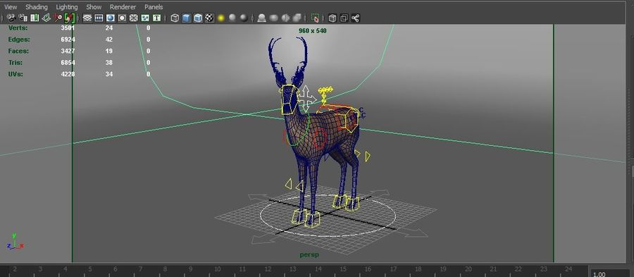 deer rigged royalty-free 3d model - Preview no. 20