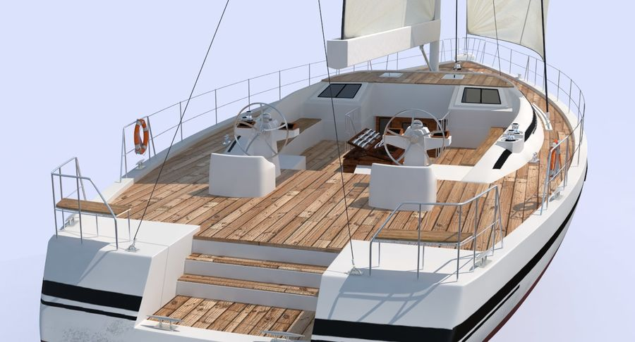Nautical Sailboat royalty-free 3d model - Preview no. 8