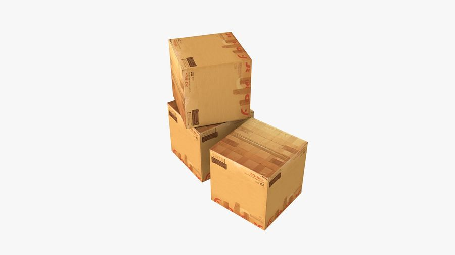 Cardboard Boxes royalty-free 3d model - Preview no. 4