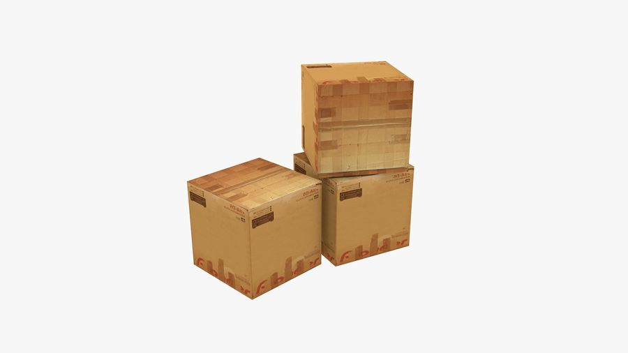 Cardboard Boxes royalty-free 3d model - Preview no. 5