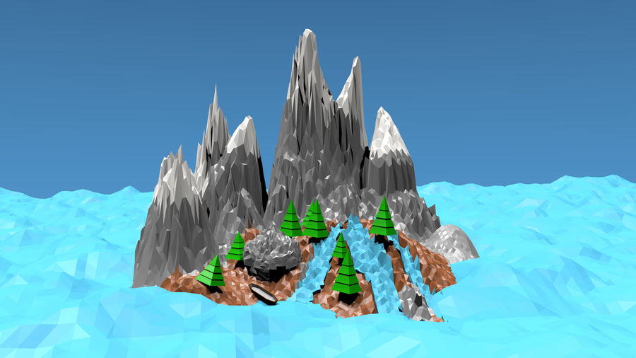 Низкополигональная Пейзаж royalty-free 3d model - Preview no. 3