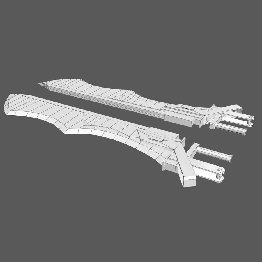 Sword Hand Blades 5 - Fantasy Steampunk Sci Fi Sword Weapons royalty-free modelo 3d - Preview no. 7