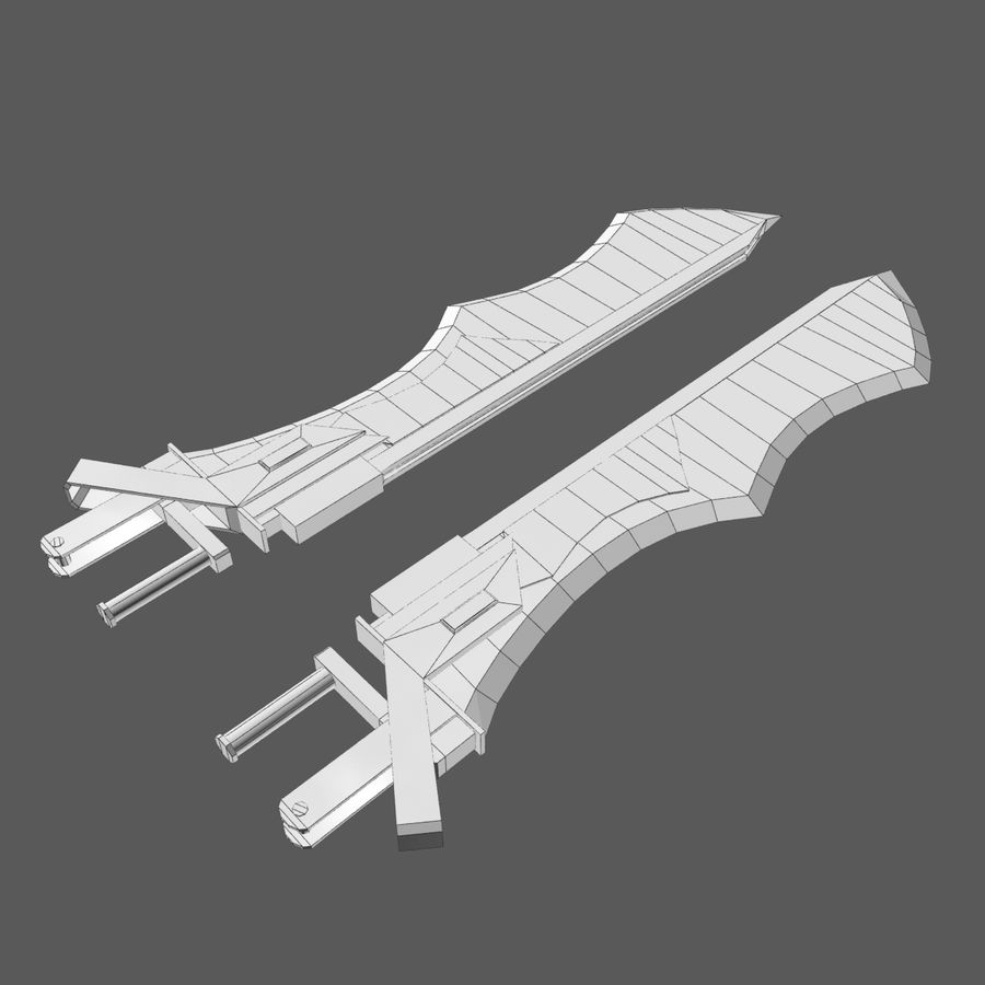 Sword Hand Blades 5 - Fantasy Steampunk Sci Fi Sword Weapons royalty-free modelo 3d - Preview no. 5