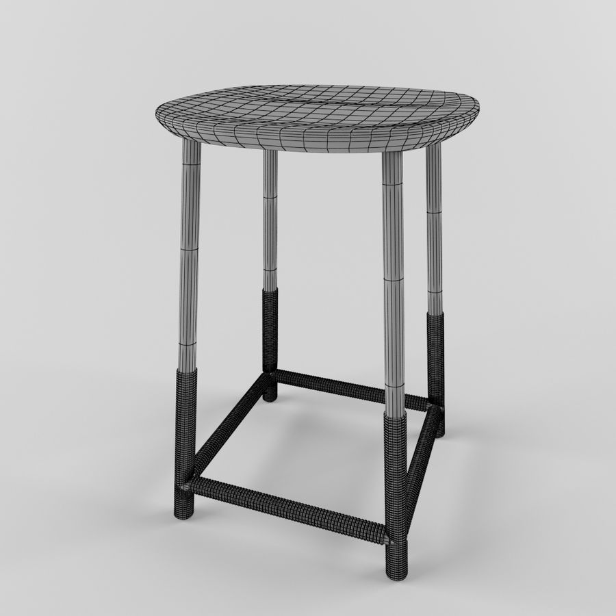 Wood Stool royalty-free 3d model - Preview no. 7