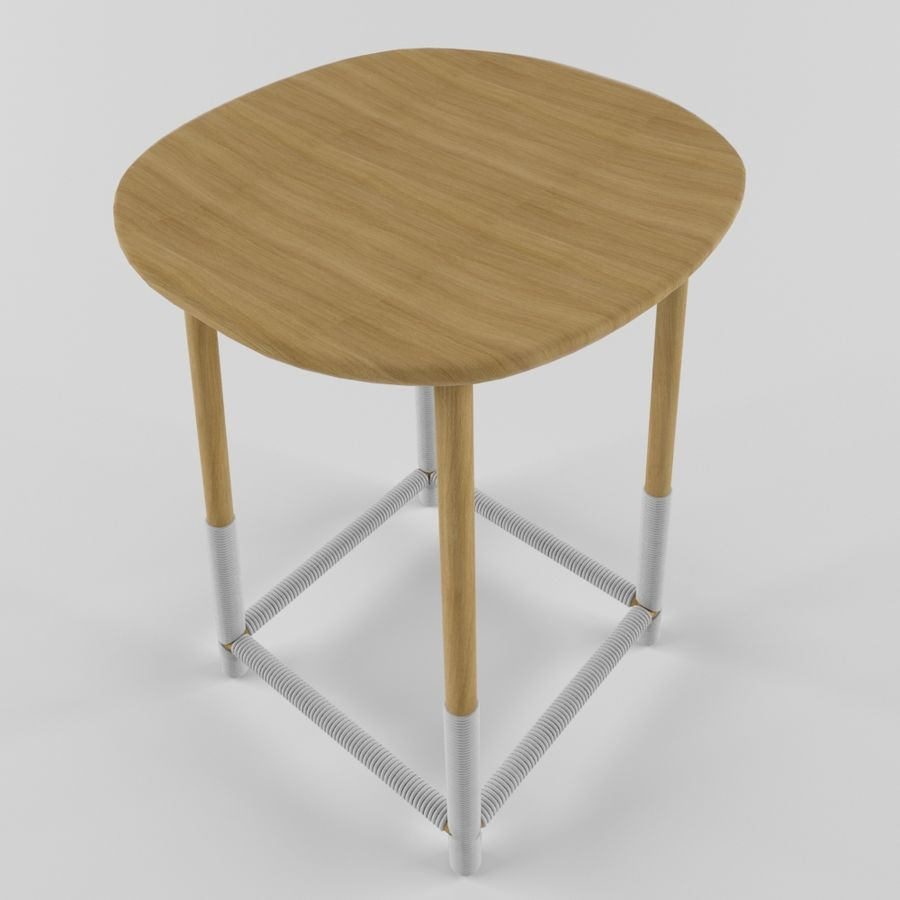 Wood Stool royalty-free 3d model - Preview no. 3
