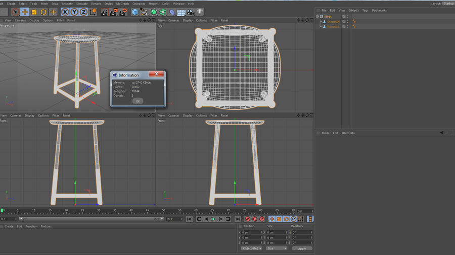 Wood Stool royalty-free 3d model - Preview no. 9