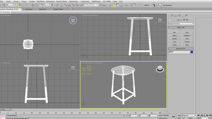 Wood Stool royalty-free 3d model - Preview no. 8